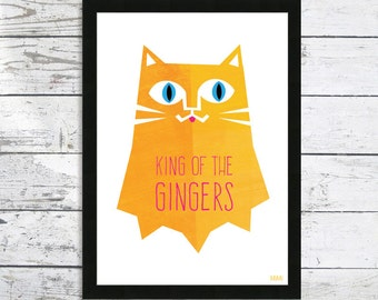 Ginger Cat Print - King Of The Gingers - Cat print - Cat lover gift - Ginger Cat - Cat gifts
