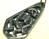 Skeleton - Detailed 3D Skull Pendant 1994 Lead-Free Pewter Charm - Dead Skull Halloween #2