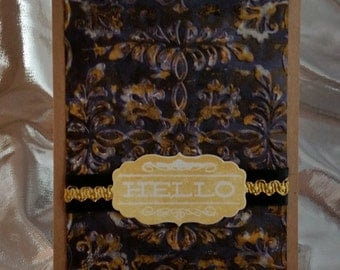 Black and Gold Hello Embossed Kraft Card