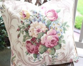 1940s Scrolled Pink Cabbage Rose and Tulip Floral Vintage Barkcloth and Striped Ticking Fabric Pillow Cushion