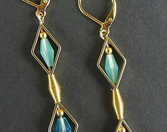 Gold Earrings blue earrings Aqua earrings long earrings Mothers Day gift handcrafted earrings Mothers Day earrings summer earrings gift