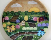 Spring Folk Art Painting Wood Plate - MADE TO ORDER- Americana country scene, blooming trees, garden, sheep, plowed fields, boy and dog ooak