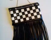 Black and White Checked Crossbody F1 Indy 500 Racing Bag with Fringe ITEM CR100