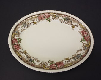 Vintage Oval Platter 'Devonshire' Floral Pattern w/Birds Johnson Bros. (E1938)