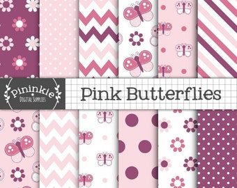 Pink Butterfly Digital Paper Pack, Commercial Use, Pink Scrapbook Papers, Background, Instant Download