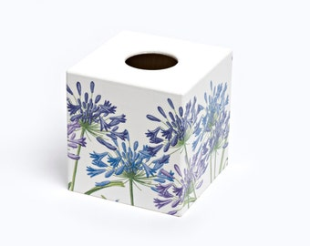 Agapanthus  Design Tissue Box Cover Wooden Handmade perfect in homes/ hotels