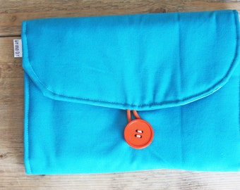 Travel Changing Pad - Diapering on the Go - Turquoise with Birds Pockets