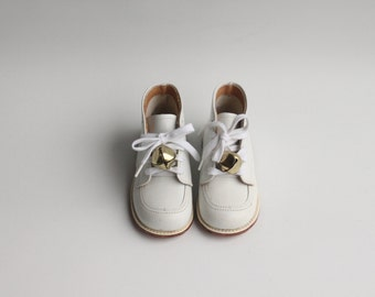 Vintage Tiny Toddlers White Leather Shoes with Bell