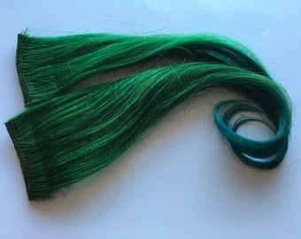 12-14 inch 100% Human Hair Extensions Ombre Emerald Green and Teal Turquoise Blue Clip in or Tape style