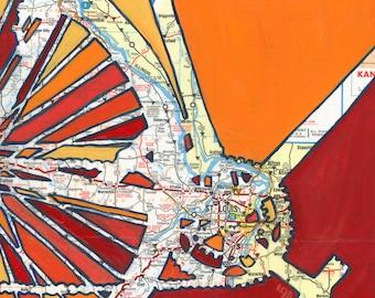 St Louis - medium print 13x13 + 16x16- bike art print featuring Florissant, St Clair, Hannibal, Missouri bicycle art print, map art