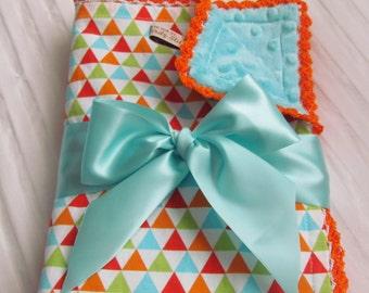 Minky baby blanket- stroller Minky blanket-triangle minky blanket- crib minky blanket-toddler minky blanket- baby blanket- triangle blanket