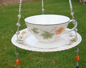Vintage Tea Cup Bird Feeder, Tealight Holder. Upcycled, Recycled, Yard Art, Garden Art, Mothers Day, Sun Catcher