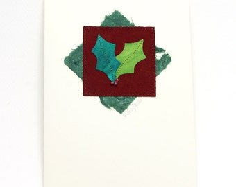 Fiber Art Greeting Card Holly Turquoise Green Maroon
