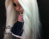 Doll hair/Suri Alpaca hair/Blythe doll hair/ Platinum blonde/white re-root scalp for Blythe doll 14 inches