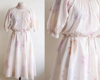 SALE / Ethereal Vintage Dress / Sheer Floral Vintage Dress / Medium