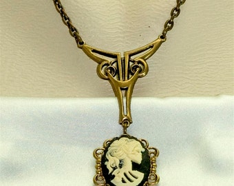 Nouveau Victorian Gothic Zombie Skeleton Cameo Goddess Necklace