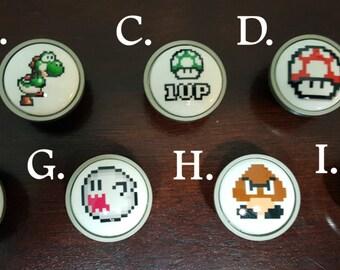 Super Mario knobs / Bedroom Dresser Knob / Nursery Drawer Knobs / Super Mario Ceramic knobs / Super Mario Cabinet Knobs