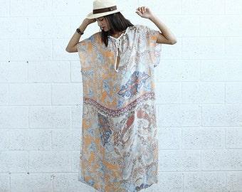 Paisley Kaftan Dress - Silk