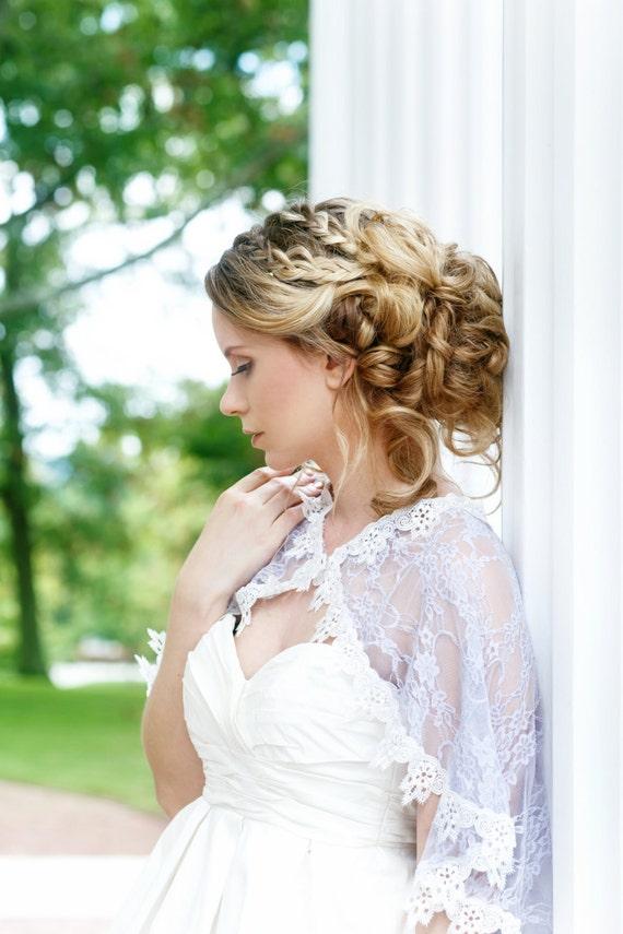 Lilac Bridal Capelet, Lace Cloak, Lace Bridal Capelet, Wedding dress Cover, Capelet, Bridal Cover up, Lavender Lace Capelet, Cape LILLIAN