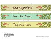Bleeding Hearts Banner - Pick 1 of 3 Designs - Customized Shop Banner with Your Shop Name