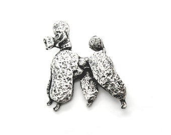 French Poodle Brooch. Sterling Silver Dog Figural. Signed Cini. Textured, Three-Dimensional. Vintage 1950s Jewelry.