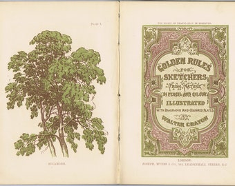 Antique Golden Rules for Sketchers Book History 19thc Victorian Color Printing Art Nature