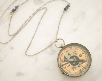 Vintage Compass Necklace, Sterling Necklace, Two Girls Gems
