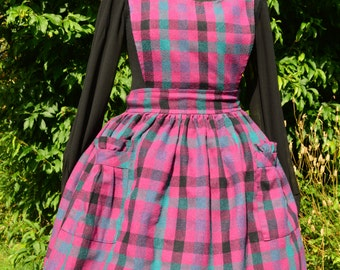 70s/80s Fuschia, teal and black plaid pinafore full skirted dress by Coppernob size M