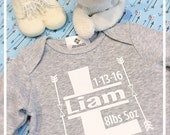 Birth Announcement Baby Onepiece Personalized with Initial Name Stats Boy or Girl Photo Prop Monogrammed Take Home Outfit Modern Kids