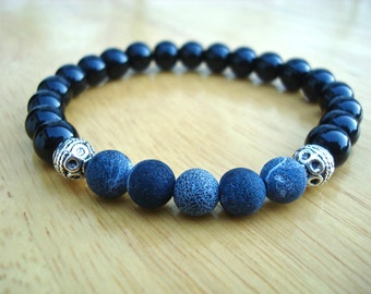 Men's Spiritual Healing, Love Protection Bracelet with Semi Precious Blue Matte Agates, Black Jasper, Bali beads - Classy Man Bracelet