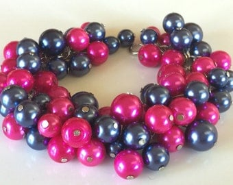 Fuchsia and navy blue chunky bracelet, great for your bridesmaids