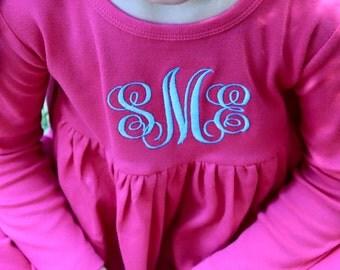 PINK KNIT MONOGRAM dress for girls- pink dress- monogram dress- knit dress- preschool dress- fall dress- winter dress- valentines dress
