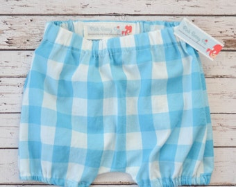 Baby and Toddler Bloomers Shorts Diaper Cover in Vintage Turquoise Buffalo Check Gingham
