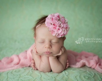 Pink Floral headband or clip-Easter, spring, newborn photo prop, baby girls, toddlers, women,