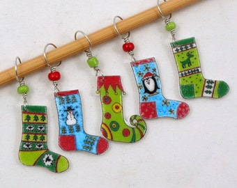 Christmas stocking stitch markers, winter socks, colorful knitting accessory, fun gift for knitters