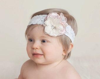 girl headband, rhinestone headband, baby headband, girl headband, fancy headband, rosette headband, bridal, lace headband, ivory