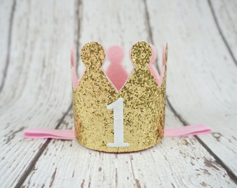 Gold crown headband- crown baby headband - baby headband- princess crown- toddler crown headband - newborn crown- gold crown- glitter crown