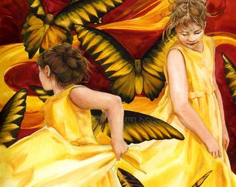 Swirl of Joy I - Matted Digital Print of Butterfly Girls Watercolor Painting - 11x14 inches