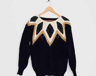 80s Sweater | Festive Holiday Sweater | New Years Sweater | Black & Gold Sweater | Beaded Sweater | Geometric Pattern Jumper |