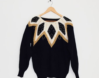 Gold & Black Knit Sweater. 80s Sweater. Geometric Pattern Beaded Sweater. Black Knitted Jumper. Sparkle Classy Diamond Slouchy Sweater.