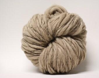 Thick and Thin Yarn Handspun Fawn Shetland Wool Slub  tts(tm) Hand dyed Half-Pounder Super Bulky