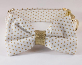 White and Gold Polka Dot Bow Tie Dog Collar, Bowtie Dog Collar, Preppy Dog Collar, Holiday, New Year's Eve, Christmas