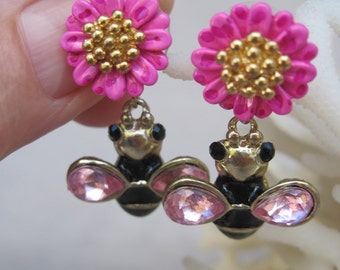 Black and Pink Bumble Bees with Detachable Pink Enameled Flowers Stud Earrings
