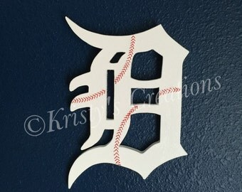 Detroit Tiger's wooden letter - Old English D  -baseball decor - man cave decor - baseball stitching