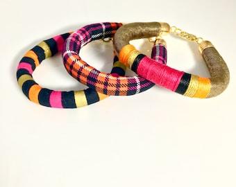 Colorful Bracelet Set, Fabric Bracelet, Tim Burton Inspired Stacked Bracelets, Halloween Jewelry, Orange and Black, Gift For Her