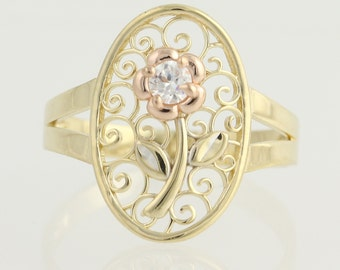 Floral Cubic Zirconia Ring - 14k Yellow & Rose Gold Women's CZ N647