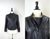 Summer Clearout Sale Vintage black leather pullover motorcycle jacket / soft leather coat with snap front flap