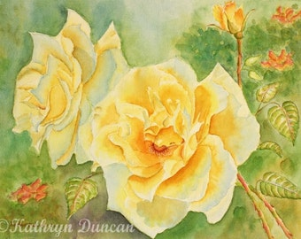 Yellow Roses Watercolor Painting Print, yellow, green, orange