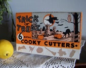 Old Halloween Prop TRICK or TREAT Cooky Cookie Cutters - In Vintage Box Decor