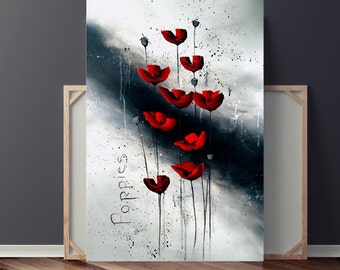 Abstract Flower Painting, Abstract Painting, Red Flower Painting, Painting on Canvas, Red Poppies Painting, Original Painting, Heather Day